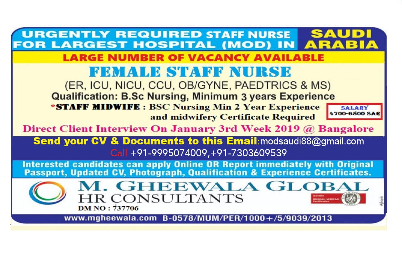 Urgently Required Staff Nurses For Largest hospital (MOD) In Saudi Arabia