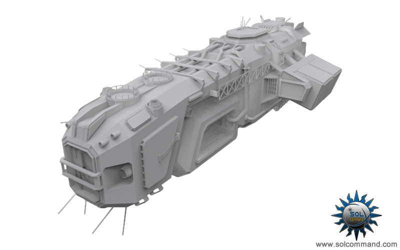 Saya logistic support spaceship space combat ship defensive mining fleet lawless original concept art free download 3d model solcommand civillian