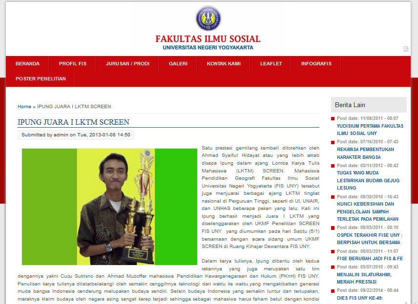 Juara 1 Lomba Karya Tulis Mahasiswa UKMF SCREEN 2013