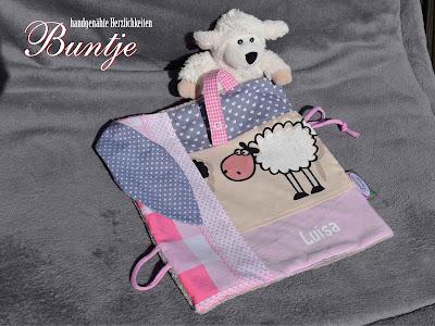 Schnuffeltuch Kuscheltuch Tuch Baby Geschenk Geburt Taufe Name grau rosa Schafe Tiere Bauernhof Wellnessfleece Fleece Schnuller Buntje handmade nähen
