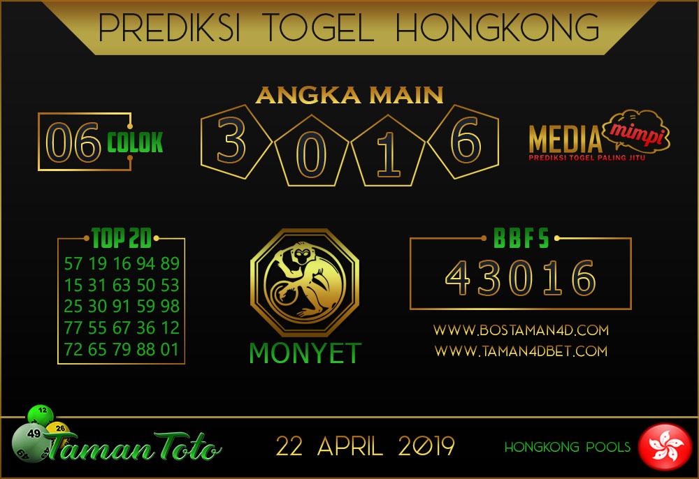 Prediksi Togel HONGKONG TAMAN TOTO 22 APRIL 2019
