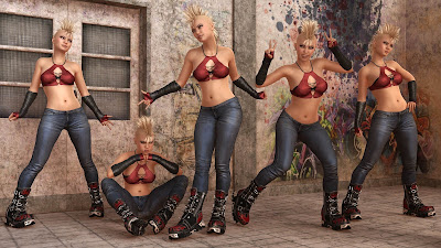 Capsces Street Fun Poses and Expressions for Genesis 3 Female and Kalea 7
