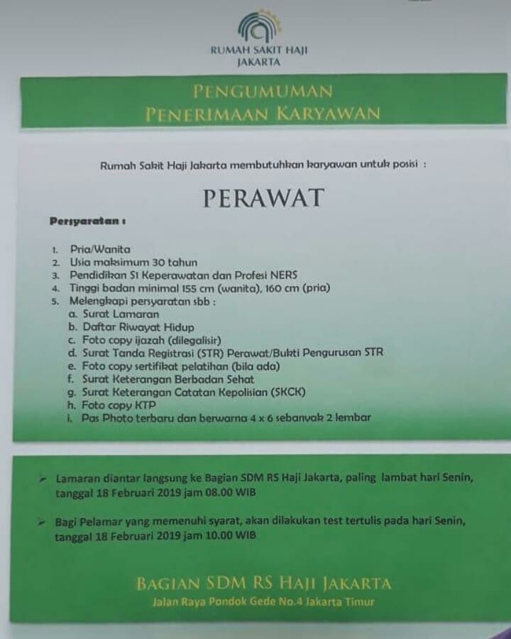 Lowongan Kerja Rs Haji Jakarta 2020 Perawat Dokter Dll Loker Karir