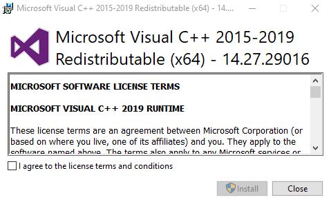 Microsoft Visual C++ 2019 (RP) 14.27.29016