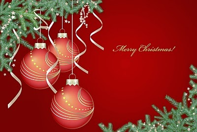 Red Christmas background with red baubles