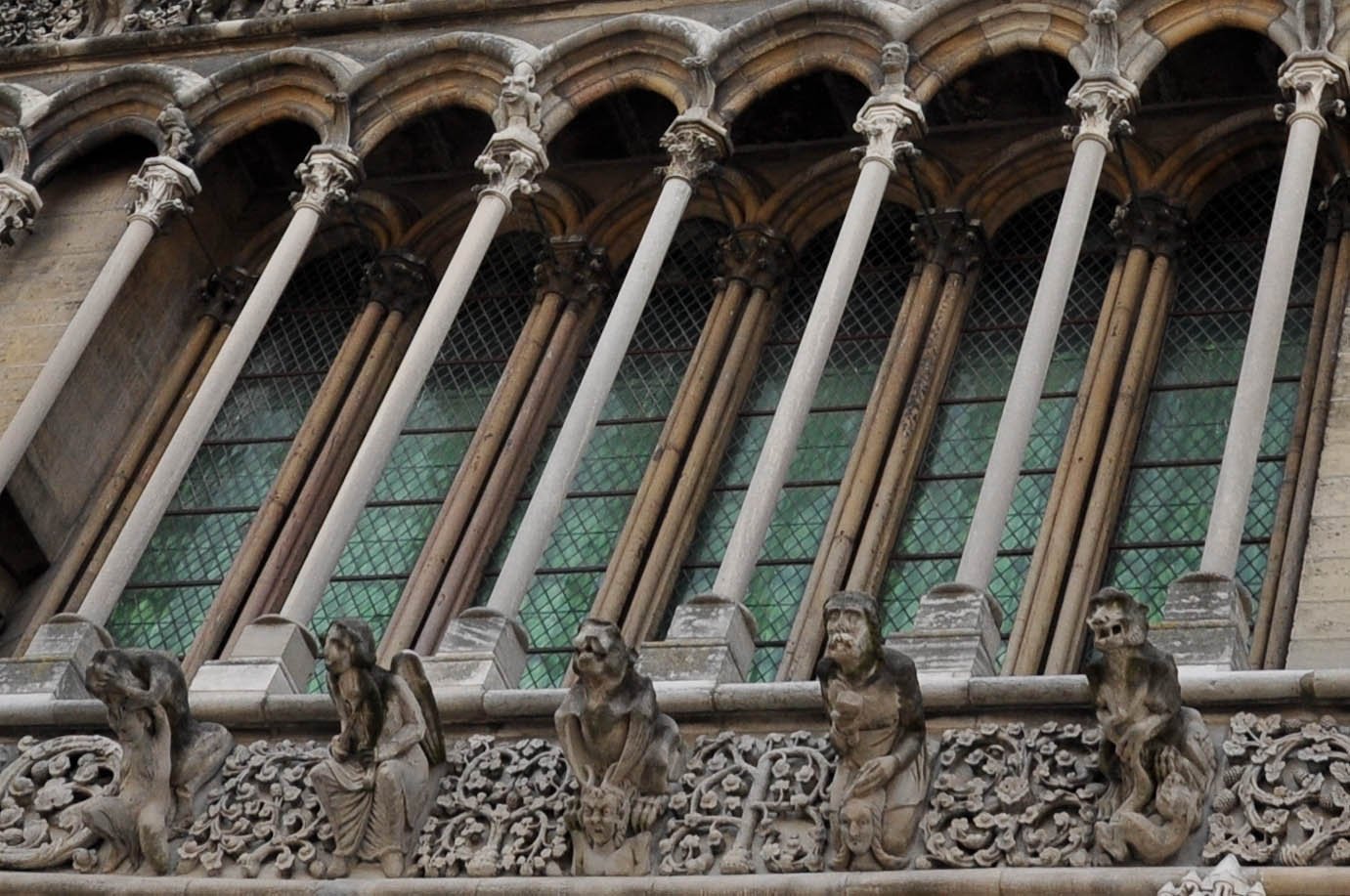 A close-up of the facade of the Church of Notre-Dame in Dijon, Burgundy, France