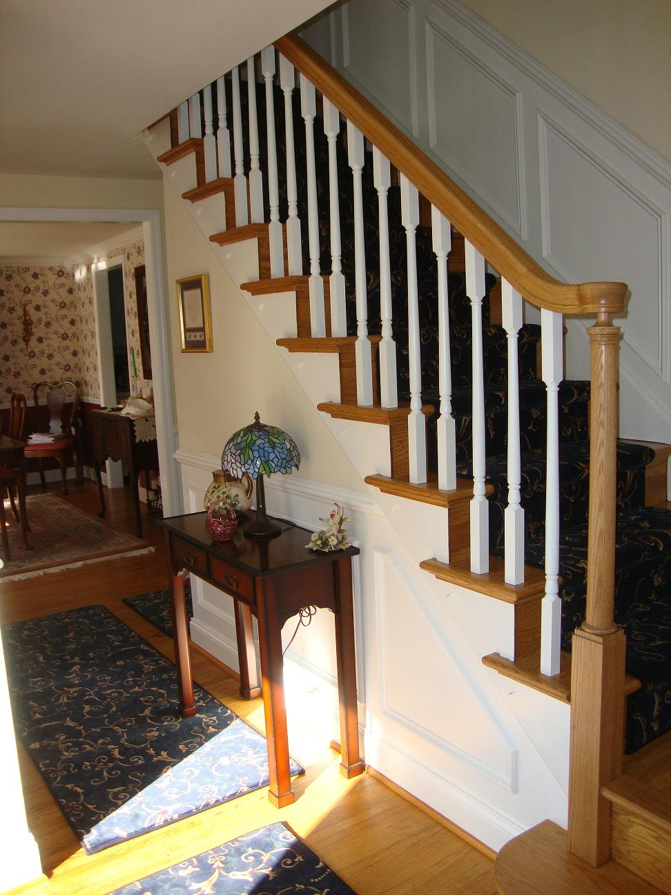 Wood Stairs and Rails and Iron Balusters: New Handrail ...