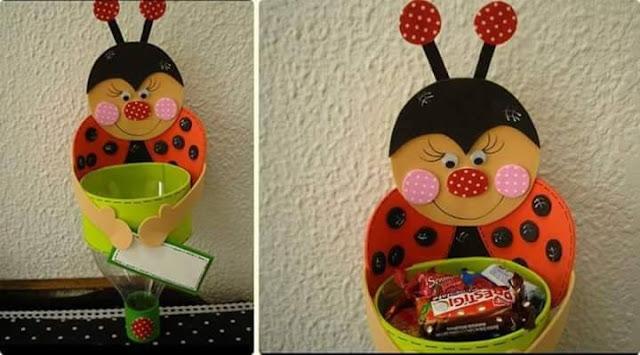 Idea to make something from bottle for kids : ladybug candy box