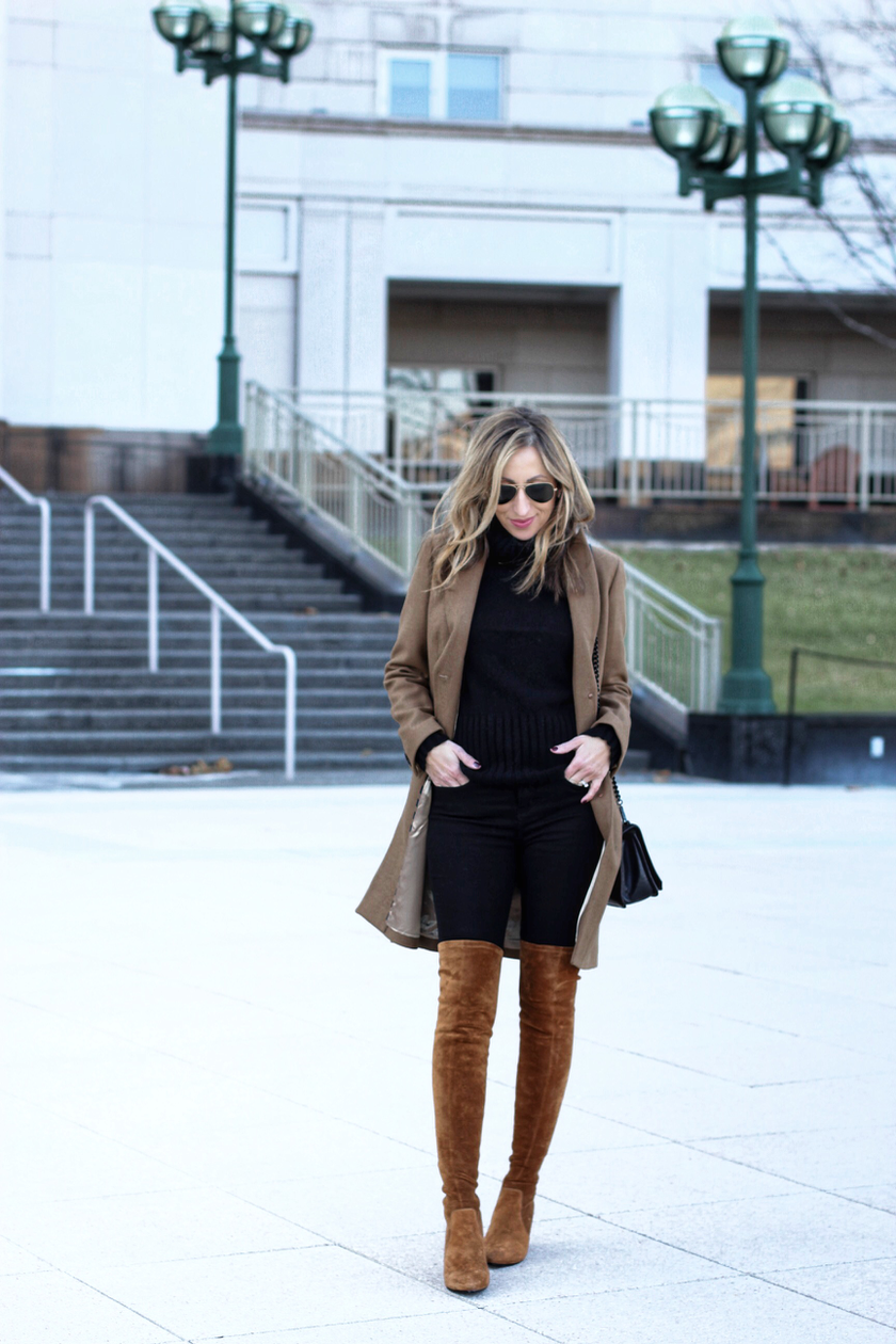 9bf509d7b383 Closet staples // Black and brown outfit with OTK boots ~ Lilly Style