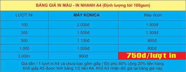 Bảng giá in màu A4 ở Hà Nội in nhanh A4 định lượng 100gsm