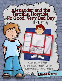 Alexander and the Terrible, Horrible, No Good, Very Bad Day Book Study with culminating foldable lapbook project