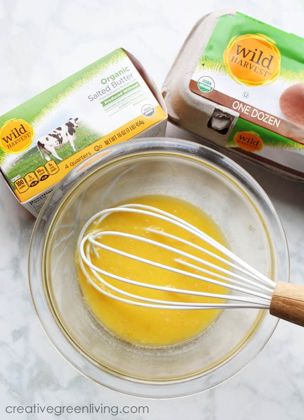 Melt 6 Tablespoons butter, whisk in 1 egg and 1 Tablespoon diced garlic