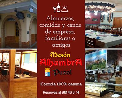 Almuerzos, comidas y cenas de empresa, familiares o amigos en Mesón Alhambra Puzol
