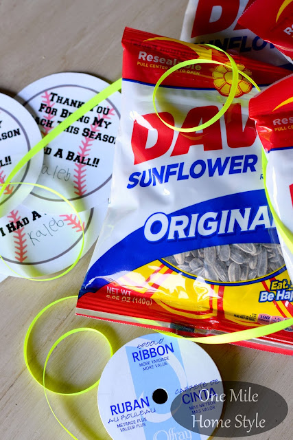 End of the Baseball Season Coach's Gift with Sunflower Seeds - One Mile Home Style