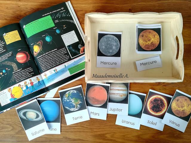 Cartes de nomenclature et livre Système solaire