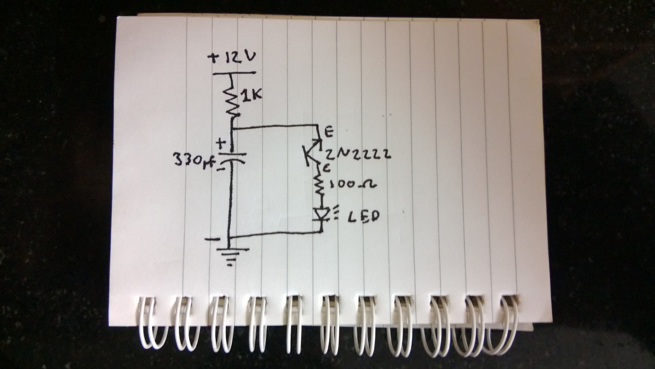 circuit diagram the input power is 12v dc the positive is connected to a 1k resistor the other end of the resistor is connected to the positive side of  [ 1278 x 720 Pixel ]