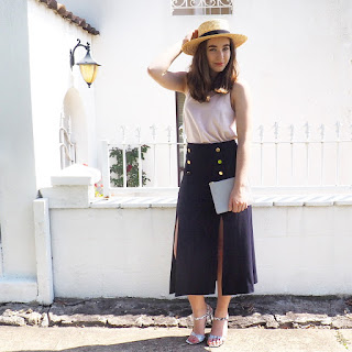 Forever New Bobbie straw boater hat, Zimmermann split midi skirt and Senso marble heels