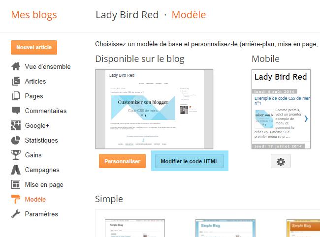 Créer un menu déroulant sous Blogger