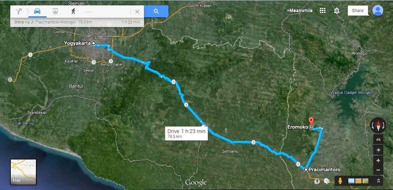 rute dan peta perjalanan yogyakarta eromoko wonogiri