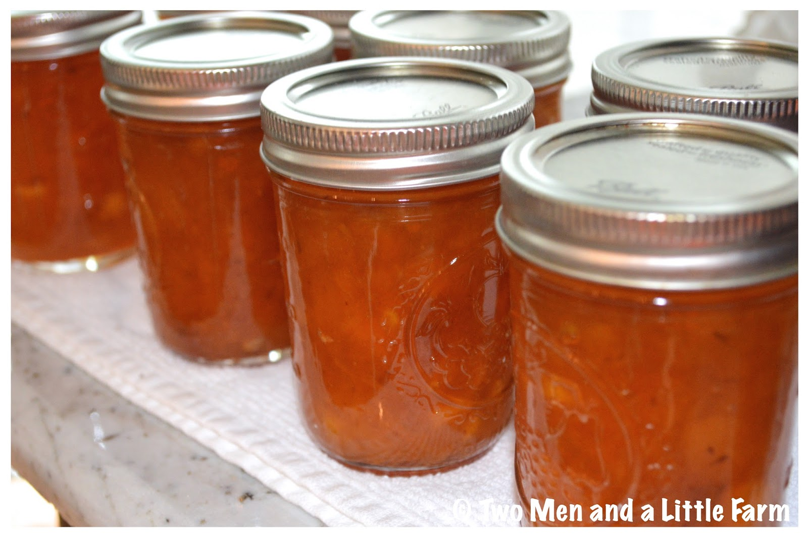 Two men and a little farm canning peach jam without pectin for Peach preserves no pectin