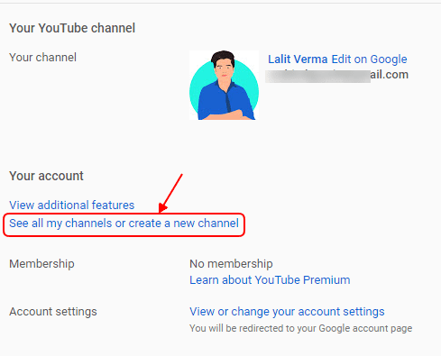 How to create multiple channel using on gmail account