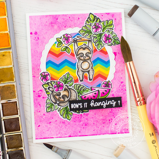 Sunny Studio Stamps: Silly Sloths Fabulous Flamingos Fancy Frames Dies Friendship Cards by Mona Toth and Franci Vignoli
