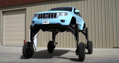 Jeep bulit to drive over cars