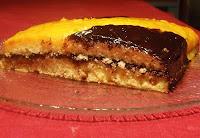 tarta de crema de cacao y naranja