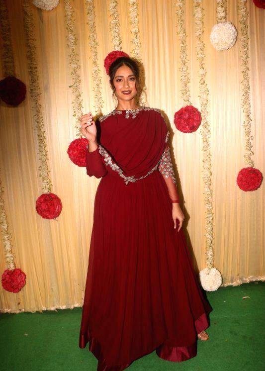 Ileana D'Cruz In Red Dress At Diwali Party Celebrations 2017