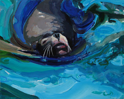 Acrylic painting of a sea lion at the buffalo zoo