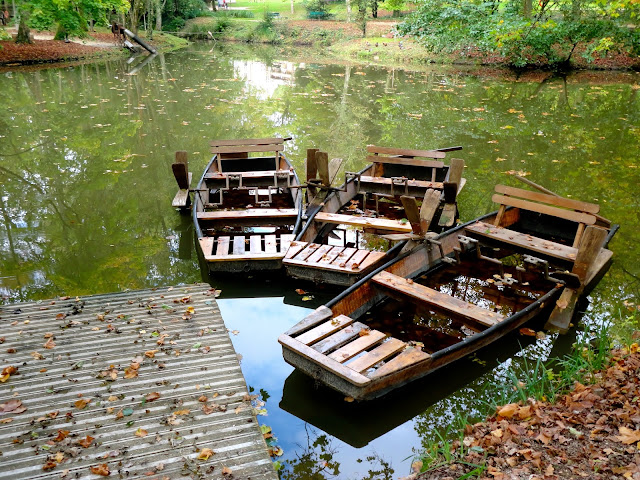 Da Vinci's boats on the pond in the gardens of the Clos Lucé, Amboise, France