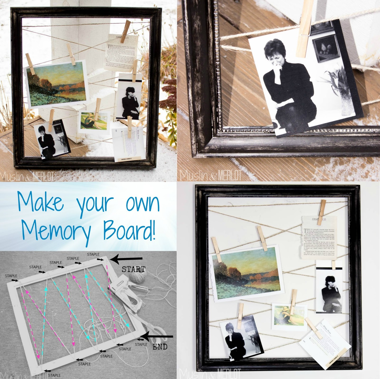 DIY Hemp and Frame Memory Board Collage