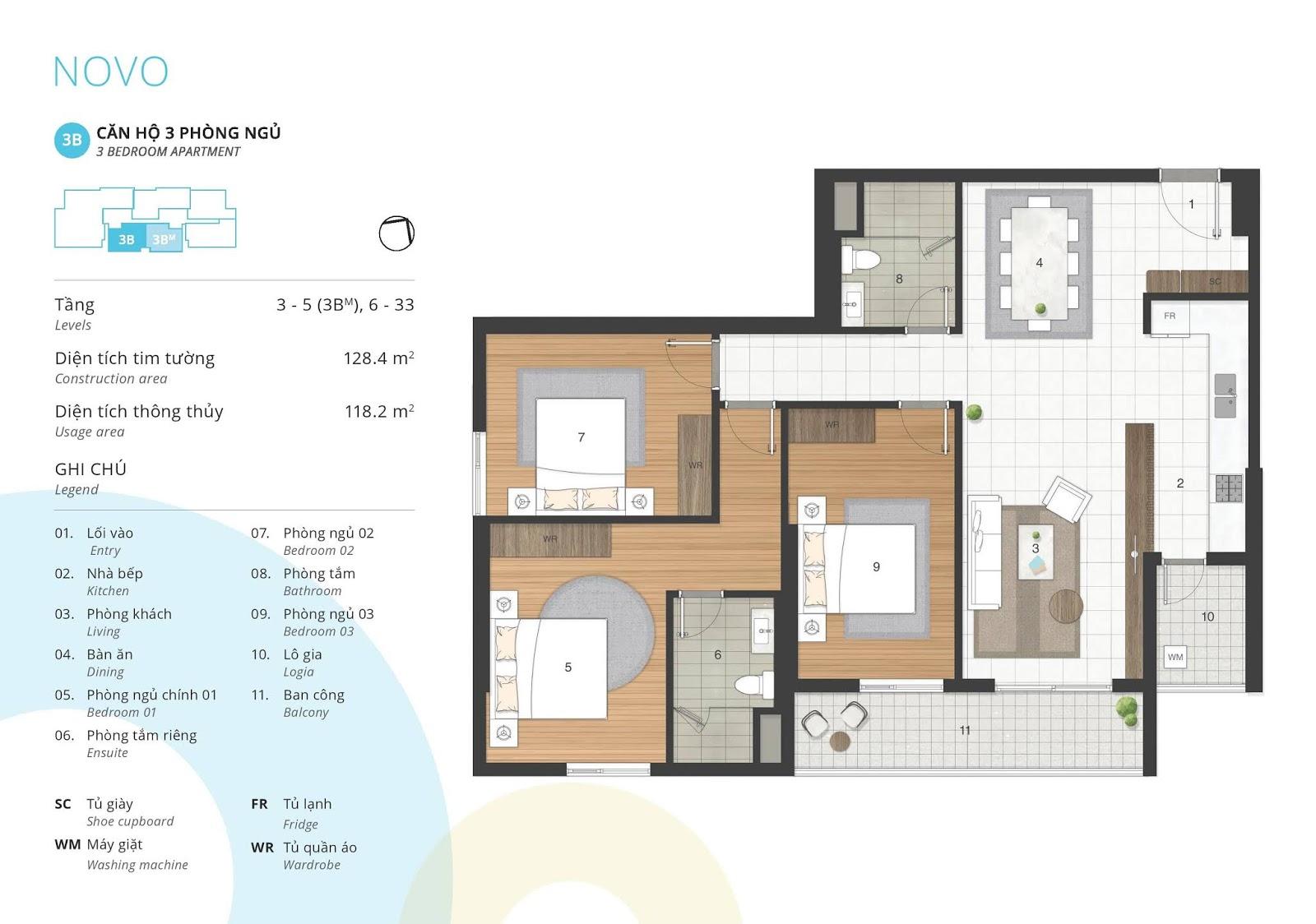 Mặt bằng căn hộ 3 phòng ngủ 118 m2 thông thủy tòa NOVO dự án Kosmo