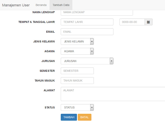 Download Code Aplikasi php Manage User Bootstrap