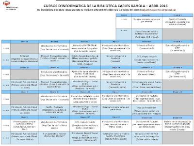 Cursos d'informàtica de la biblioteca carles rahola - abril 2016