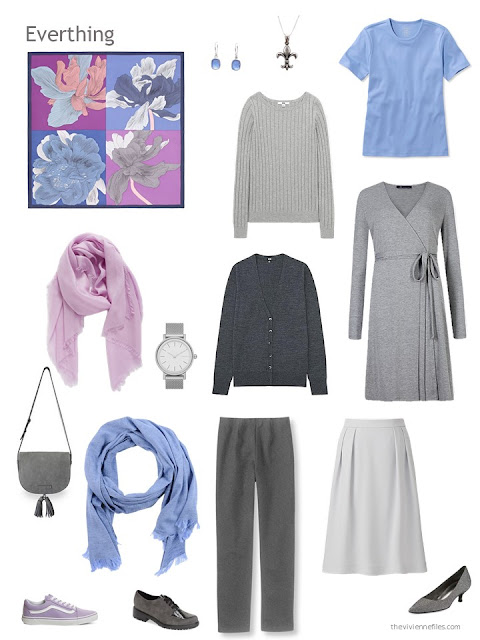six-piece grey, orchid and light blue capsule wardrobe