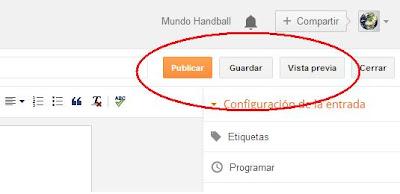 Botón Publicar | crear nueva web | Mundo Handball
