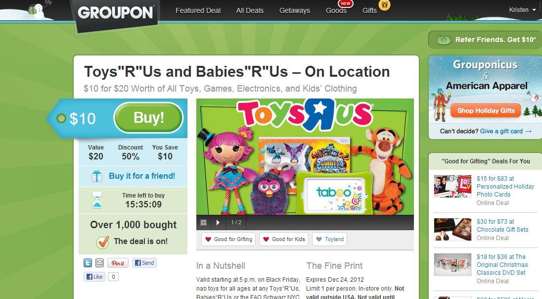 Good 4 Kids Good 4 Parents Toys R Us Groupon 10 For 20
