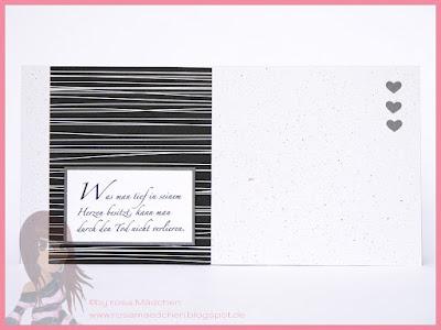 Stampin' Up! rosa Mädchen Kulmbach: Trauerkarte mit Designerpapier und Herzchen