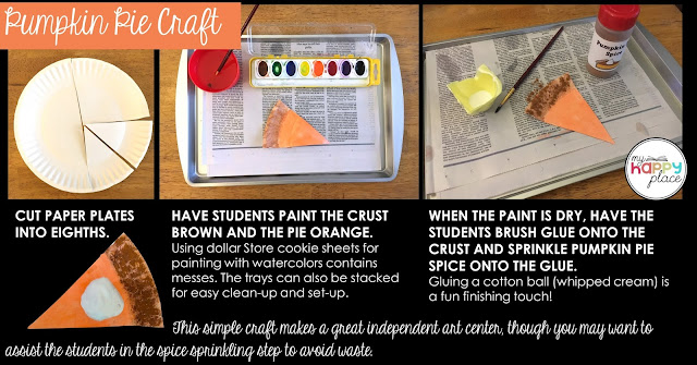 paper plate pumpkin pie craft using watercolors and pumpkin pie spice with a cotton ball for whipped cream