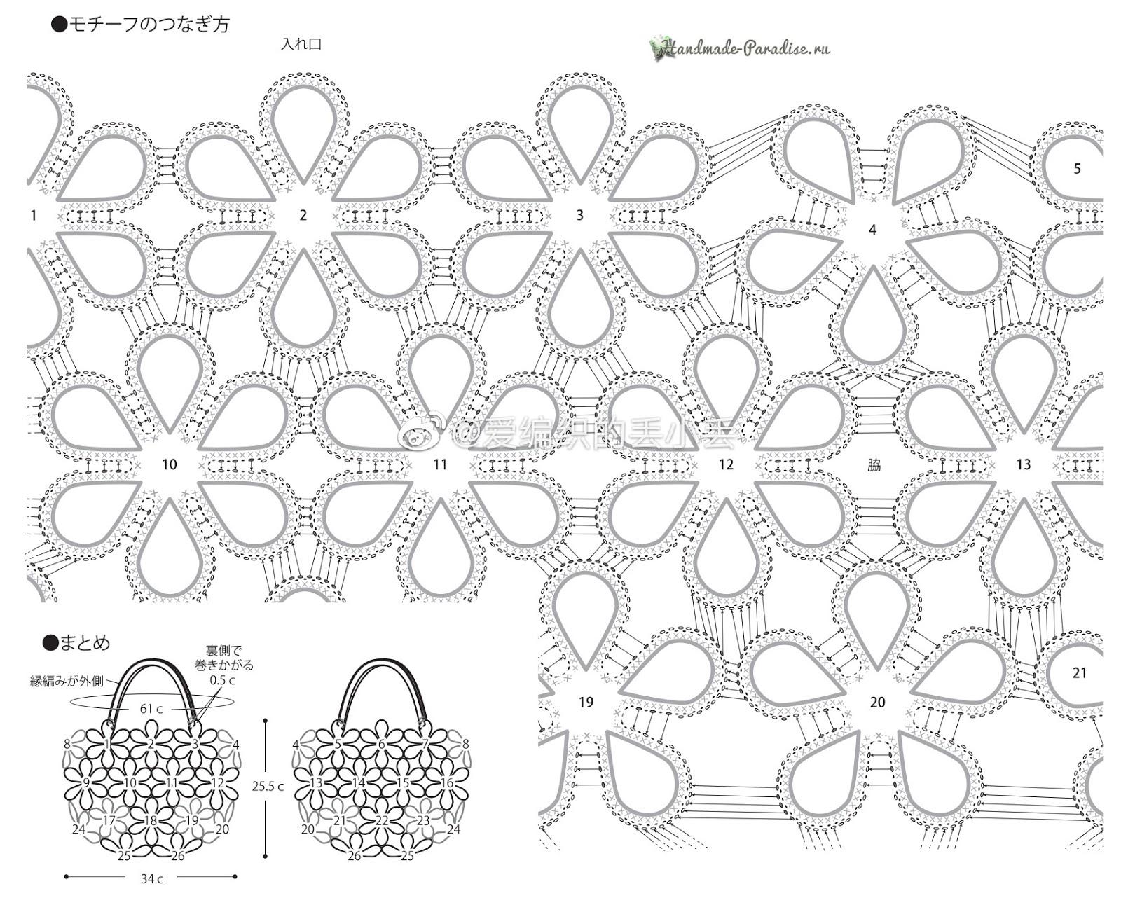 Схемы вязания крючком сумки цветочными мотивами (3)
