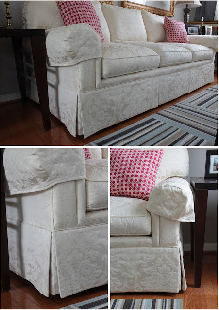 old sofa with skirt