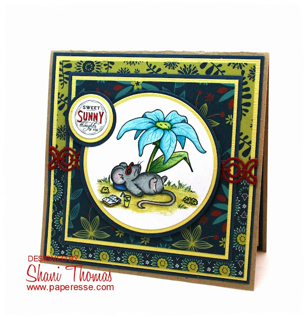 Happy Summer card featuring Sliekje free sunning mouse digital stamp, by Paperesse.