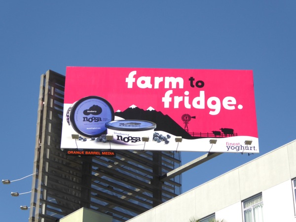 Blueberry Noosa yogurt Farm to fridge billboard