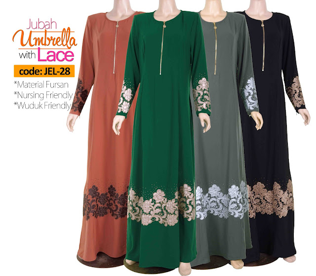 Jubah Umbrella Lace JEL-28 All color