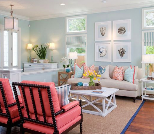 How to Decorate Beach Cottage Style Living Room with Colors