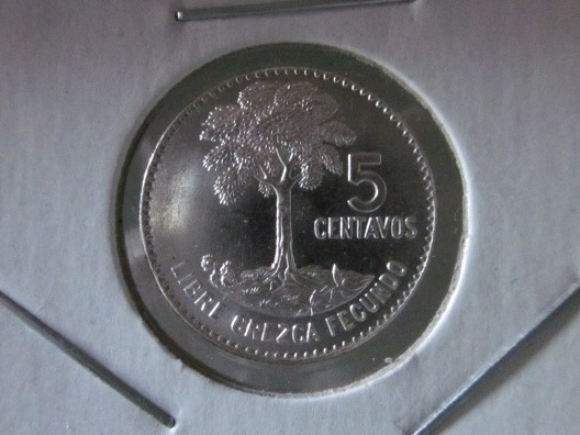 1961 Guatemala 5 Centavos silver coin — reverse side