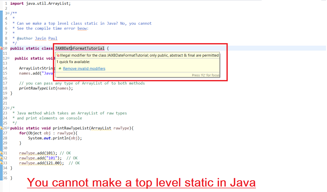 Can we declare a class Static in Java?