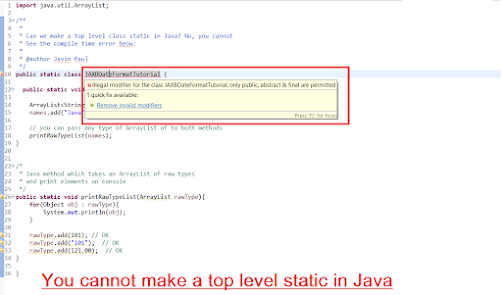How to make a static class in Java