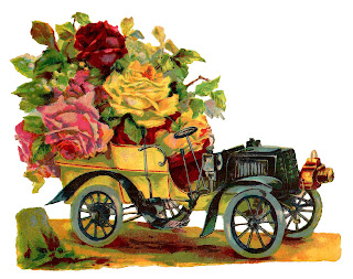 car vintage classic roses printable scrapbook art